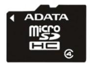 Карта памяти ADATA microSDHC Class 4 4GB + SD adapter (AUSDH4GCL4-RA1)